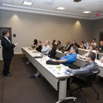 Special Agent in Charge Briese welcomes Class 12 on the opening night of the 2012 FBI Charlotte Citizens' Academy. This is the classroom where we spent most of our time listening to presentations on each of the topics.