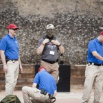 Me gearing up for the simunition experience on range day. Simunitions are basically miniature paintballs that are fired by a small gunpowder charge. The shot velocities are reported in the 400 fps range, so protective gear is a must.