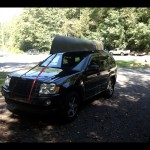 14' canoe on an '07 Jeep Grand Cherokee factory roof rack...it worked, in case anyone else is wondering (like I was prior to field testing this)!