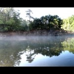 Panoramic of morning fog on Eagle Creek as viewed from the beach at camp site #90.