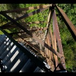 Looking down a corner of the steel frame structure that makes up Shuckstack fire tower.