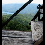 Looking off to Fontana Lake from the edge of the stairs. Fontana Dam is visible in the middle of the screen.