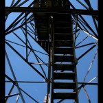 Another shot looking up at the steel tower structure from inside.