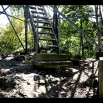 The start of the stairs up to Shuckstack fire tower. The soil around the base has eroded a little bit, exposing the concrete footings a little more than they were likely originally installed. Still structurally ok, but I doubt it'll pass inspection today!