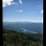 Looking at Fontana Lake from midway up the tower. The cold front that blew in the previous evening made for clear skies and little haze.