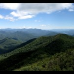 Panoramic view of the Great Smoky Mountains National Park with Fontana Lake on the right, Eagle Creek watershed in the center, and the NC/TN line just out of frame on the left.