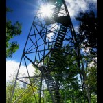 Panoramic shot of the tower looking up from the base.