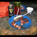 The dinner that made the entire camp site jealous! When a canoe is carrying all your gear for you, the weight limit increases enough to afford steak, potato, and Guinness! Best meal I've ever eaten in the back country!