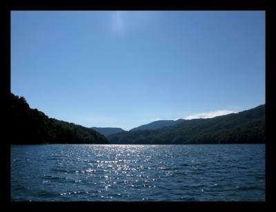 Looking upstream (east) out in the middle of Fontana Lake. Couldn't have asked for a better day to be outdoors!
